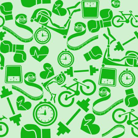 Seamless pattern fitness. Monochrome green background. Vector illustration. EPS8. Vector