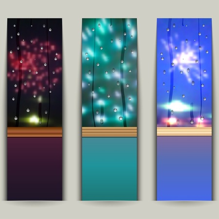 Set of banners with fireworks.  Vector