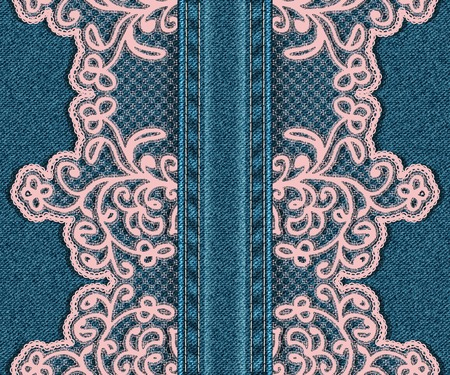 Vertical seamless denim background with lace.  Vector