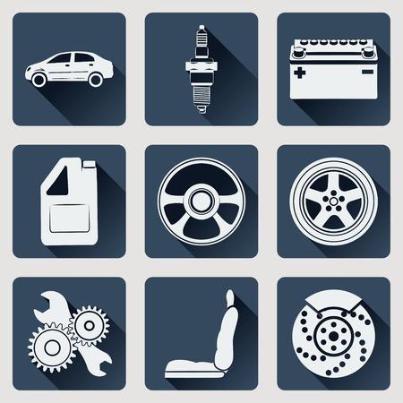 asiento coche: Conjunto de piezas de automóviles iconos. Diseño plano con largas sombras.