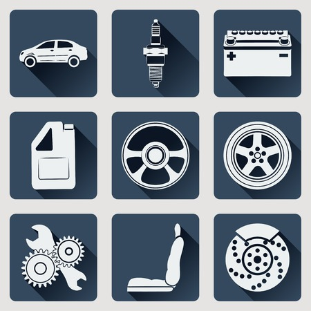 Set of icons auto parts. Flat design with long shadows.  Vector
