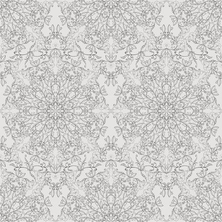 Monochrome seamless floral pattern.  Vector
