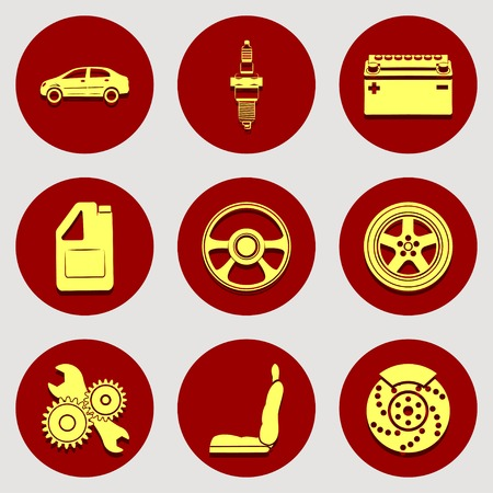 auto parts: Set of icons auto parts. Flat design. Yellow badges on red background.  Illustration