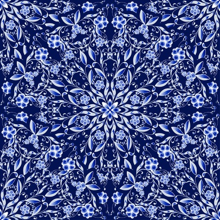 chinaware: Seamless floral pattern of circular ornaments. Dark blue background in the style of Chinese painting on porcelain. Vector illustration.