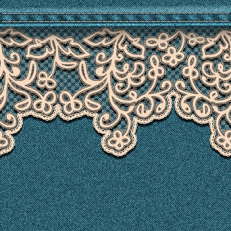 Denim background with lace. Vector illustration. Vector