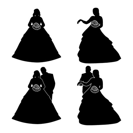 Silhouettes of the bride and groom with a bouquet, isolated on white.  Vector