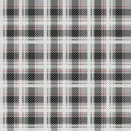 fab: Black and white seamless tartan with a thin red stripe.