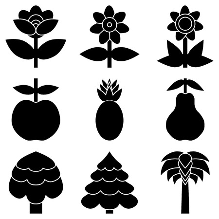 Set of simple black icon of flowers, trees and fruits. Vector illustration. Illustration
