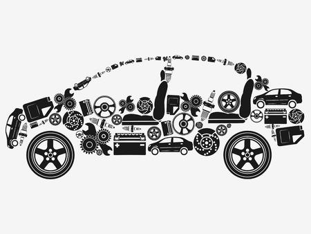 mecanico automotriz: Colecci�n de iconos dispuestos en la forma del coche. El concepto de los sujetos de automoci�n. Ilustraci�n del vector.