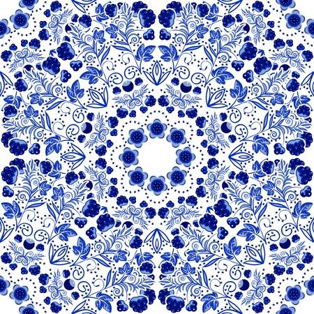 flores chinas: Seamless patrón floral de adornos circulares. Vectores