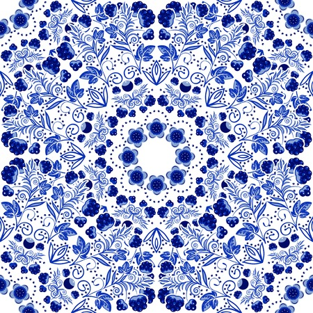 Seamless floral pattern of circular ornaments. Illustration
