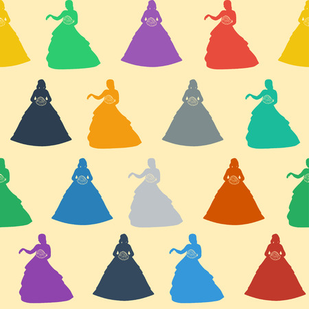 Colorful silhouettes of a princess on a gentle cream background.  Vector