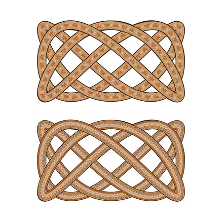Intertwined with the Roman ornament pattern.  Illustration