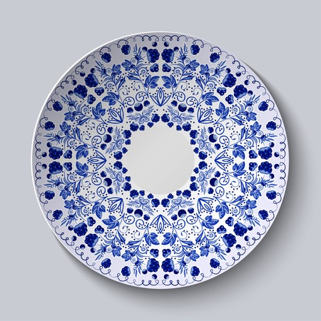 national fruit of china: Blue ornament of berries and flowers.