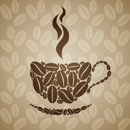 Coffee cup on seamless background with coffee beans.  Vector