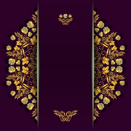 vertical divider: Rich background with golden floral and berry pattern and divider. Illustration
