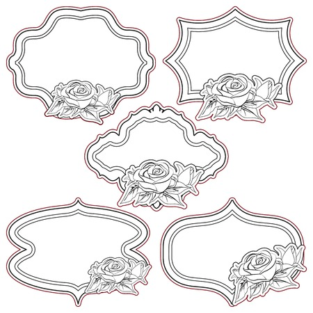 Set of vintage frames with roses, isolated on white.  Vector
