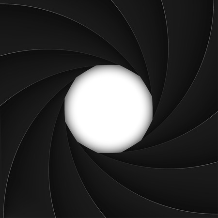 Black shutter aperture with white opening. Vector illustration. Vector