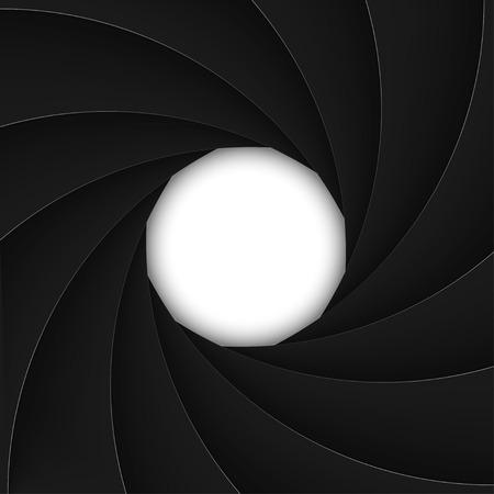 Black shutter aperture with white opening. Vector illustration.