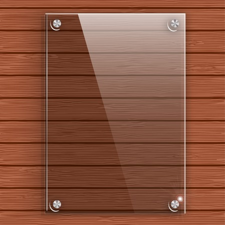 glass door: Glass plate on the background wall of wooden planks. Vector illustration.