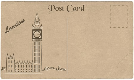 Old postcard from London with a drawing of Elizabeth Tower. Stylization. Vector illustration.