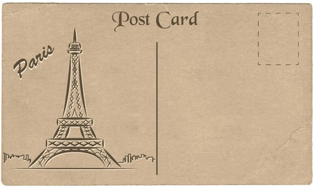 Old postcard from Paris with a drawing of the Eiffel Tower. Stylization. Vector illustration. Vector