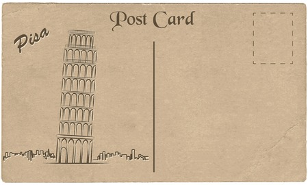 bell tower: Old postcard from Italy with painted Leaning Tower of Pisa.  Stylization. Vector illustration. Illustration