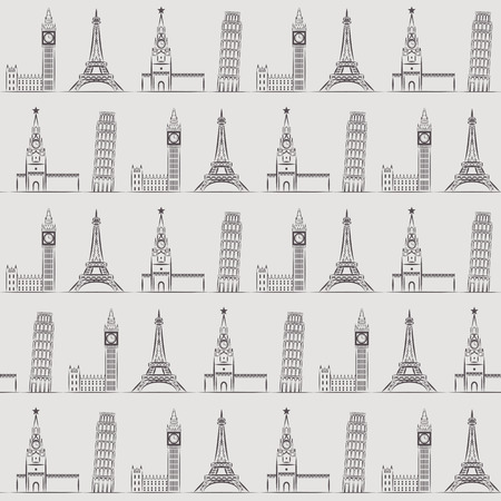 elizabeth tower: Seamless background or wallpaper with vacation, travel, attractions and famous places. Vector illustration.