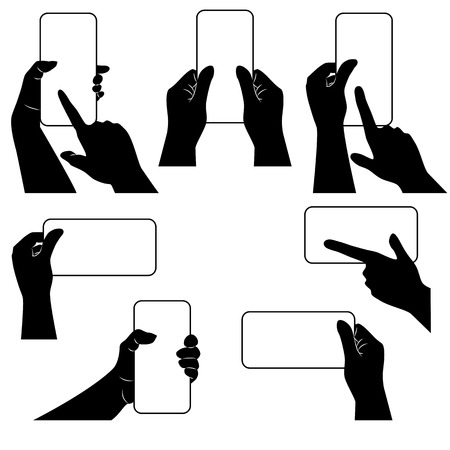 bussiness card: Hands with smartphone and whether other gadget. Black-and-white template. Vector illustration.