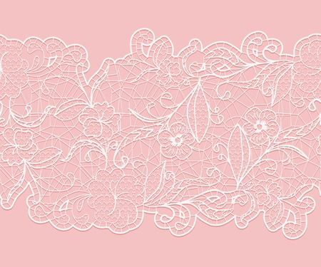 Delicate white seamless lace ribbon on a pink background. Vector illustration.