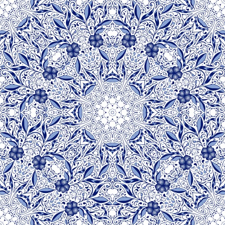 Seamless lace background with flowers and leaves in blue tones of the circular ornaments. Pattern in the style of Chinese painting on porcelain. Vector illustration. Çizim