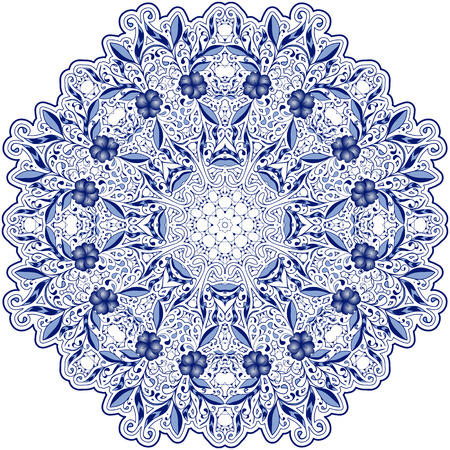 Round blue lace doily mandala with swirls, flowers and foliage. Styling oriental motifs. Vector illustration. 向量圖像