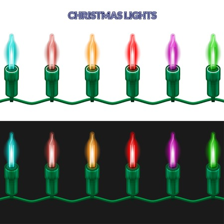 christmas lights: A piece of Christmas garland of shining lights. Isolated on white and black background.  Vector illustration. Illustration
