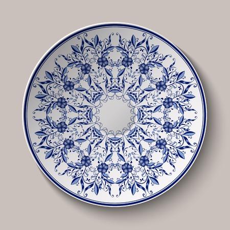 Ronde blauwe delicate bloemmotief. Chinese stijl schilderen op porselein. De op de keramische schaal ornament. Vector illustratie. Stock Illustratie