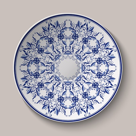 Round blue delicate floral pattern. Chinese style painting on porcelain. The ornament shown on the ceramic platter. Vector illustration. Vettoriali