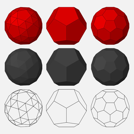 Set of three-dimensional geometric figures. Dodecahedron. Snub dodecahedron. Truncated icosahedron. Vector illustration. 向量圖像