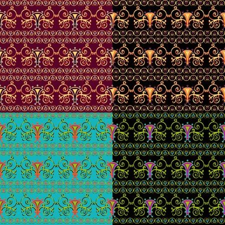 byzantine: Set of seamless Byzantine patterns of different colors. Vector illustration.
