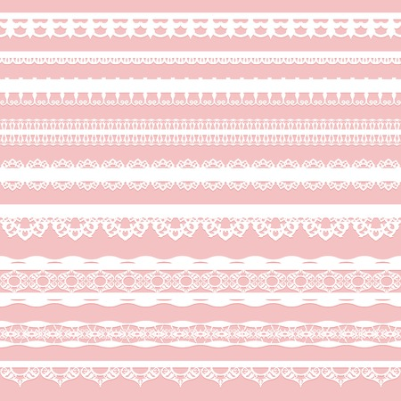 Set of white lace braid isolated on a pink background. Vector illustration.
