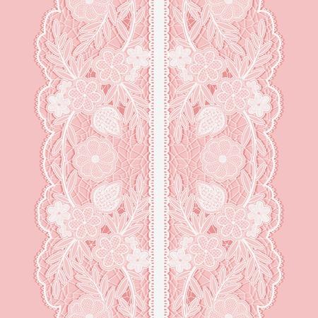 lazo rosa: Encaje blanco sin patrón de amplia cinta floral vertical sobre fondo de color rosa. Ilustración del vector.