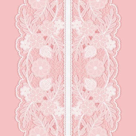 lace background: White lace seamless pattern of broad vertical floral tape on pink background. Vector illustration.