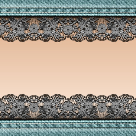 sewn: Denim background with black lace ribbon sewn and female skin of the body.  Vector illustration.