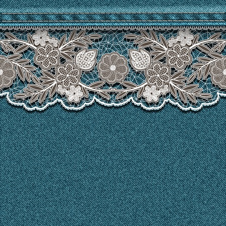 Denim texture with sewn white lace ribbon. Vector illustration. Vector