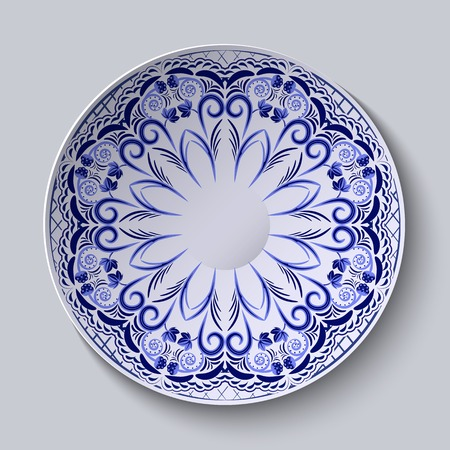 national fruit of china: Blue floral pattern on a round plate. Stylization of Chinese porcelain painting. Vector illustration.