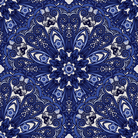 chinaware: Dark blue seamless background of circular ornaments. Floral and berry pattern in the style of Chinese painting on porcelain. Vector illustration.