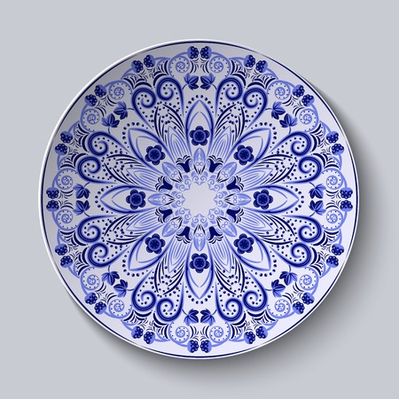 pastiche: Blue floral pattern on a round dish. Pastiche of Chinese porcelain painting. Vector illustration. Illustration
