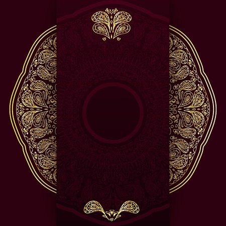 vertical dividers: Ornate burgundy background with golden mandala. Template for menu, greeting card, invitation or cover.