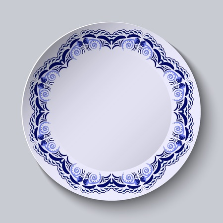 chinaware: Blue floral pattern on the rim of the plate. Imitation of Chinese porcelain painting. Vector illustration. Illustration