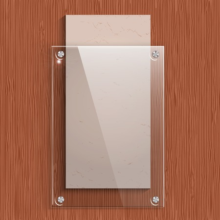 The glass plate with a paper on the background of mahogany wood texture.  Vector illustration. Vector