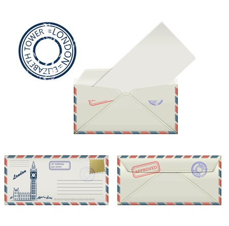 elizabeth tower: Set of envelopes from London with a painted the Elizabeth tower and postmark. Stylization. Vector illustration. Illustration