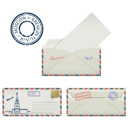 postmark: Set of envelopes from Moscow with a painted the Kremlin tower and postmark. Stylization. Vector illustration.